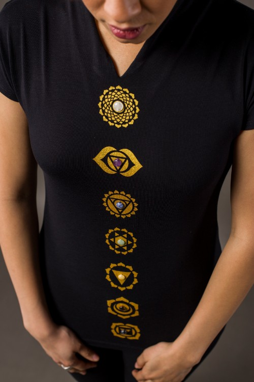 Phanes fashion chakra shirt black gold close up