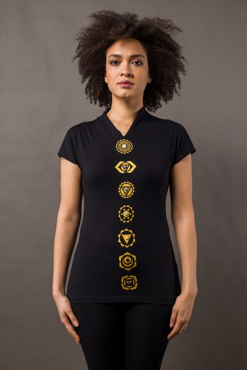 Phanes fashion chakra shirt black gold front