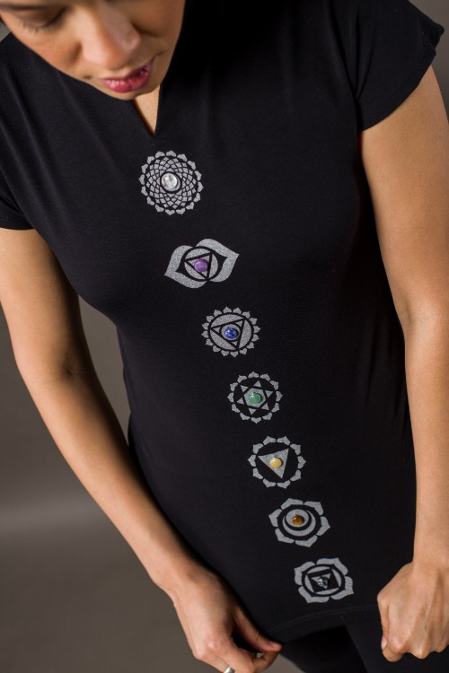 Phanes fashion chakra shirt black silver close up