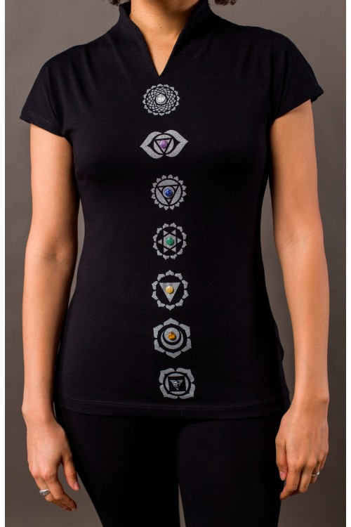 Phanes fashion chakra shirt black silver details