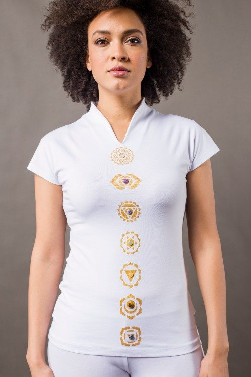 Phanes fashion chakra shirt white gold front